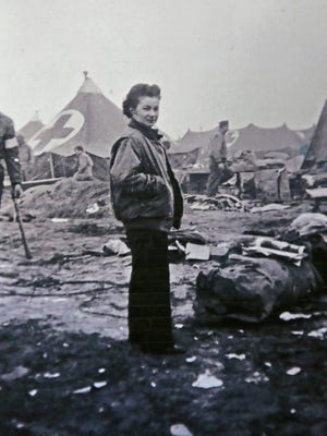 """This is a 1944 photo of Marian Malik, now Marian """"Nan"""" Somes, in Anzio, Italy, after a bomb hit her hospital tent and killed several people.  The 101-year-old World War II veteran (as of Feb. 7, 2018) was a combat nurse and one of the """"Angels of Anzio,"""" having been in Anzio during the Battle of Anzio."""