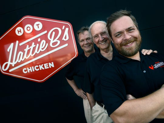 Three generations of restaurateurs, Gene Bishop Sr., center, with his son Nick Bishop, left, and grandson, Nick Bishop Jr., at Hattie B's Chicken on Monday, June 15, 2015, in Nashville Tenn. Nick Bishop and his son Nick Jr. opened their second Hattie B's together and Gene Bishop Sr. was CEO of Morrison Cafeteria and Ruby Tuesday's.