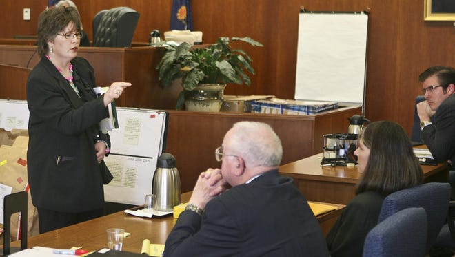 Chief deputy district attorney Jacqie Spradling points at defendant Dana Chandler during her trial for murder. Spradling now faces disciplinary hearings for prosecutorial misconduct and error in that trial, as well as in a 2017 trial of Jacob Ewing.