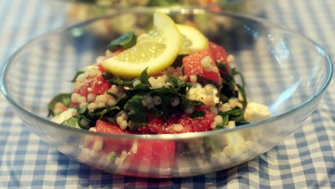 Israeli Couscous Salad with Watermelon, Watercress and Feta.