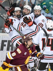 St. Cloud State's Mikey Eyssimont celebrates his goal