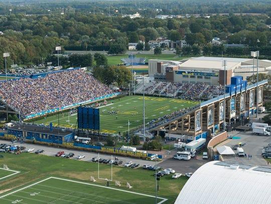Aerial shot of Delaware Stadium