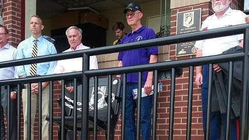 Pictured, from left, are York County Veterans Affairs Director Terry Gendron, U.S Rep. Scott Perry, York County Commissioner Doug Hoke, JVC Commander Tim Reineman of the Military Order of the Purple Heart, and Program Committee Chairman Dave Brady of the Marine Corps Leader and American Legion.