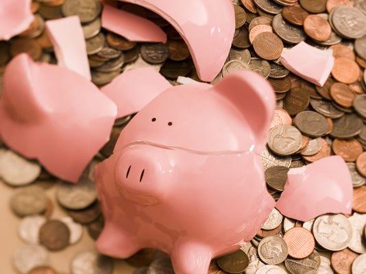 POVERT PIGGY BANK; COINS