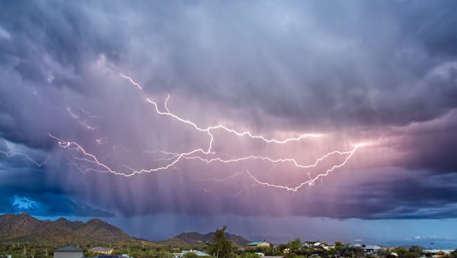 Lightning strikes  over Cave Creek on March 26, 2017.