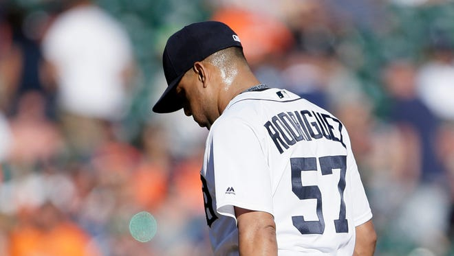 Francisco Rodriguez #57 of the Detroit Tigers leaves the mound after being pulled during the ninth inning after giving up five runs in a 7-4 loss to the Kansas City Royals at Comerica Park on September 24, 2016 in Detroit.