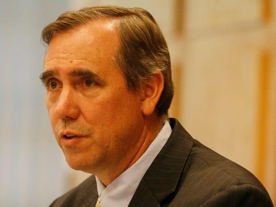 Sen. Jeff Merkley speaks to the Statesman Journal editorial board Thursday morning, Sept. 1, 2011.