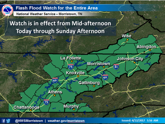 A flash flood watch is in effect from mid-afternoon