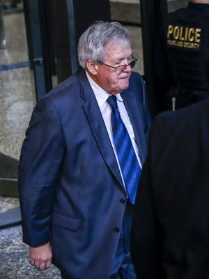 Former Speaker of the US House of Representatives Dennis Hastert leaves the federal court house in Chicago on Oct. 28, 2015, after entering a guilty plea on charges of illegally structuring bank withdrawals.