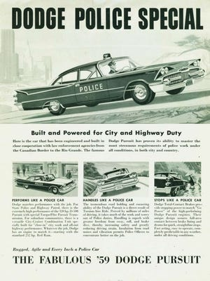 The Missouri Highway Patrol ordered 600 Dodge D-500 Hemi Police Pursuit models in 1957. Shown is an ad from 1959 whereas the California Highway Patrol ordered a total of 781 special D-500 Police Pursuit models.