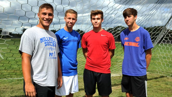 Millville soccer returning seniors and captains Nick Grotti, Ryan Hayes, Michael Gluszak and Andrew Sooy (from left), Tuesday, Sep. 6, 2016 in Millville.