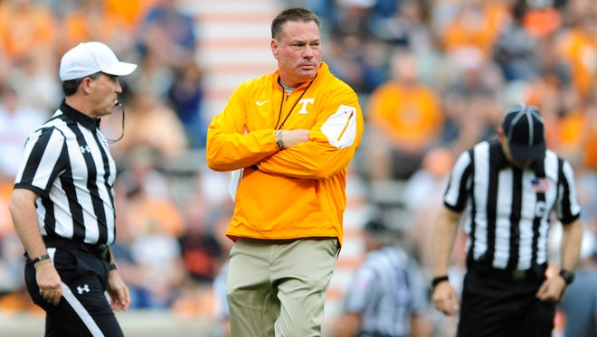 Tennessee coach Butch Jones during the Orange & White Game at Neyland Stadium on April 22, 2017.