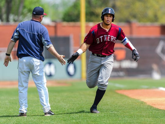 Carlos Castro (28) runs to home plate after hitting a home run in the bottom of the fourth inning against the Florence Freedoms at Bosse Field in Evansville, Ind., Wednesday, May 2, 2018. The Freedoms defeated the Otters 10-8 after playing 11 innings.