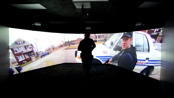 The MILO Range Simulator at Cleveland Community College allows law enforcement to roll through real-world scenarios.