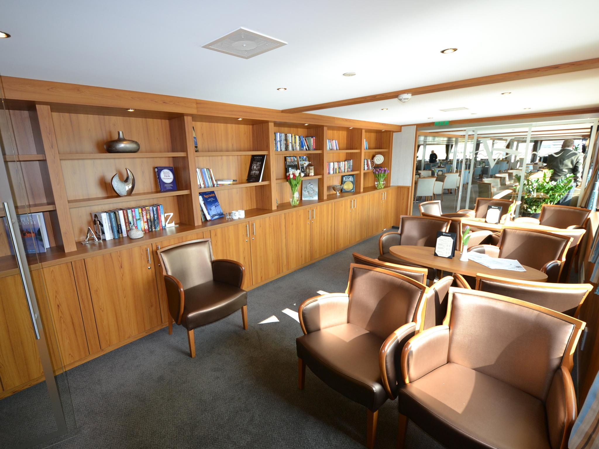 A reading room is located just off the River Discovery II's main lounge and is stocked with books and magazines.