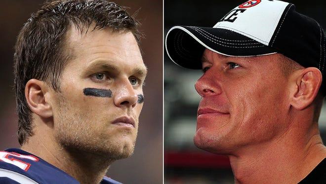 New England Patriots quarterback Tom Brady and WWE superstar John Cena.