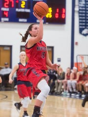 New Oxford's Haley Luckabaugh (15) shoots a last second jumper as the clock expires in the second quarter of play against Susquehannock in a second-round PIAA basketball game Thursday. Susquehannock defeated New Oxford 51-34.