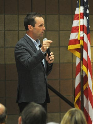 U.S. Rep. Steve Knight, R-Lancaster, shown at a recent town hall meeting at Rancho Santa Susana Community Center in Simi Valley, will face at least two Democratic challengers in next year's election.
