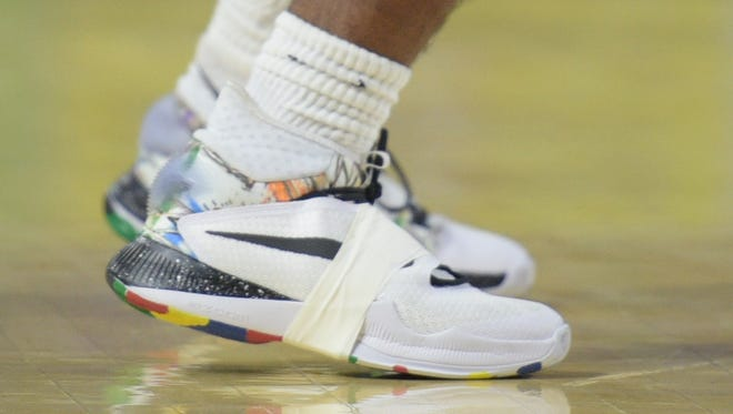 Whites Creek players sported new shoes donated by Brooklyn Nets standout Thaddeus Young during the state tournament.
