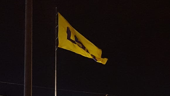 This LSU flag flies from the Robinson Brothers'  Ford
