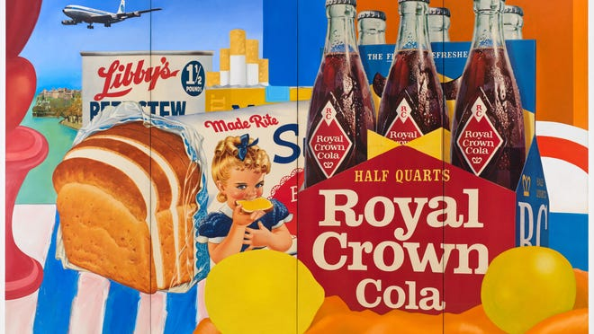"""""""Still Life #35"""" (1963). Oil and collage on canvas, 120 inches by 192 inches. The artist wrote the companies that produced large images for billboards to get artwork that he would collage into his paintings."""
