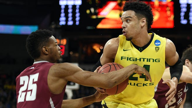 March 20, 2016; Spokane , WA, USA; Oregon Ducks forward Dillon Brooks (24) moves to the basket against St. Joseph's Hawks forward James Demery (25) during the second half in the second round of the 2016 NCAA Tournament at Spokane Veterans Memorial Arena. Mandatory Credit: Kyle Terada-USA TODAY Sports