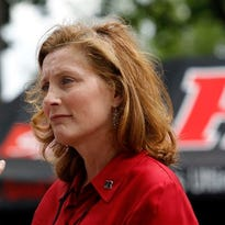 Rutgers athletic Director Julie Hermann stands outside High Point Solutions Stadium before a game against Washington State earlier this season.