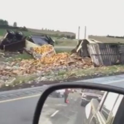 Viewer photo of semi crash that spilled canned dog