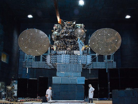 The JCSAT-16 commercial communications satellite during