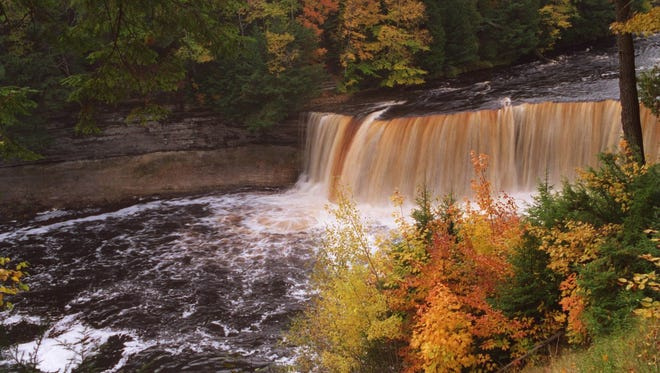 Upper Tahquamenon Falls at Tahquamenon State Park. Hike from there to the lower falls, about 5 miles.