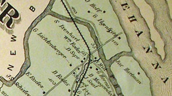 G. Ilgenfritz later owned the Eib's Landing site, as shown on this portion of the 1876 Pomeroy, Whitman Atlas of York County