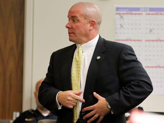 Assistant Monmouth County prosecutor Michael Luciano describes in State Superior Court in Freehold Tuesday, September 26, 2017, where Asbury Park Police Officer Carl Christie was stabbed in his kevlar vest by Oswaldo Torres Quiroz.   Torres Quiroz is accused of attempting to murder the officer in an incident in which he was shot by police and seriously injured.