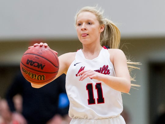 Maryville's Courtney Carruthers (11) dribbles the ball