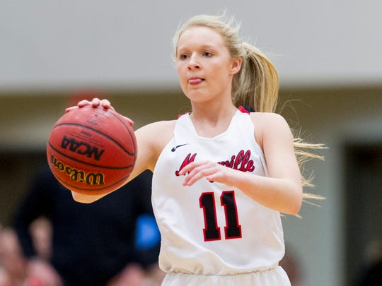 Maryville's Courtney Carruthers (11) dribbles the ball during the District 4-AAA girls basketball tournament quarterfinals game between Maryville and Heritage at Hardin Valley Academy in Knoxville, Tennessee on Wednesday, February 15, 2017.