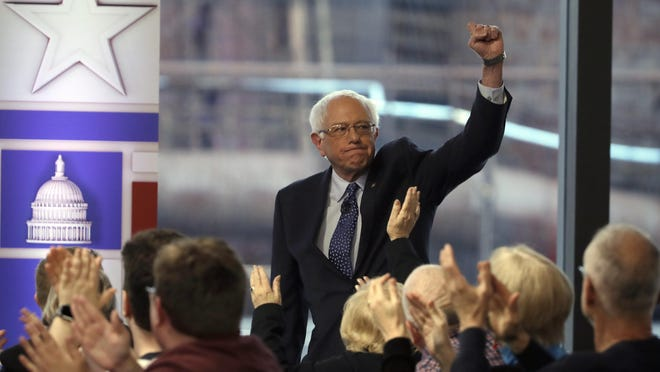 U.S. Sen. Bernie Sanders is greeted by audience members before a Fox News town-hall style event, Monday, April 15, 2019, in Bethlehem, Pa.
