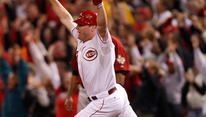 Jay Bruce homered in the bottom of the 9th inning off Houston Astros pitcher Tim Byrdak to win the game 3-2 and clinch the National League Central Division title at Great American Ball Park.