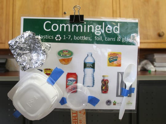 Recycling instructions in the cafeteria at Ridgeway Elementary School.