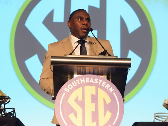 Vanderbilt coach Derek Mason fields questions Monday during SEC Media Days in Hoover, Ala.