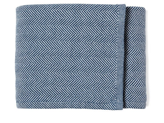 Brahms' Mount Herringbone Blanket from Serena & Lily in blue ($288).
