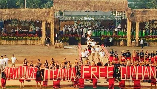Chamorro activists make a political statement during the closing ceremonies of the 12th Festival of Pacific Arts.