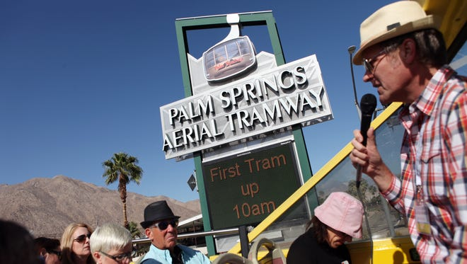 Architecture enthusiasts take part in the double decker bus tour of mid-century modern architecture during Modernism Week on Friday, February 21, 2014 in Palm Springs, Calif.