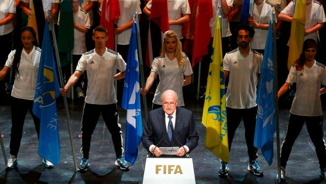 FIFA President Sepp Blatter makes a speech during the opening ceremony of the 65th FIFA Congress in Zurich on Thursday.