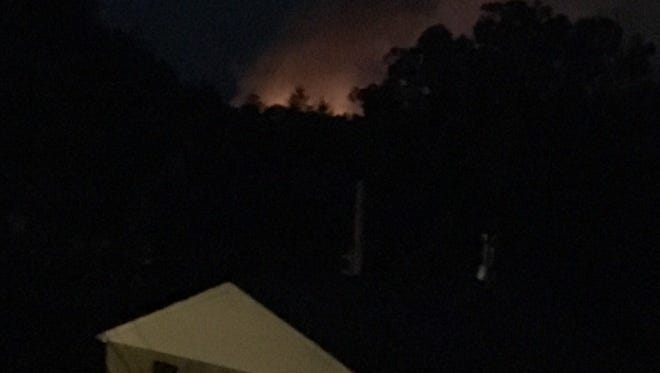 """Daily Record correspondent Steve Navaroli tweeted this photo, writing """"Flames and smoke from fire on Pleasant Ave in Dallastown can be seen from our back window."""""""