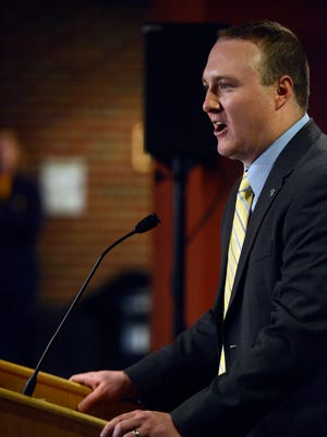 Slade Larscheid speaks after being introduced as Augustana's new athletic director on Thursday.
