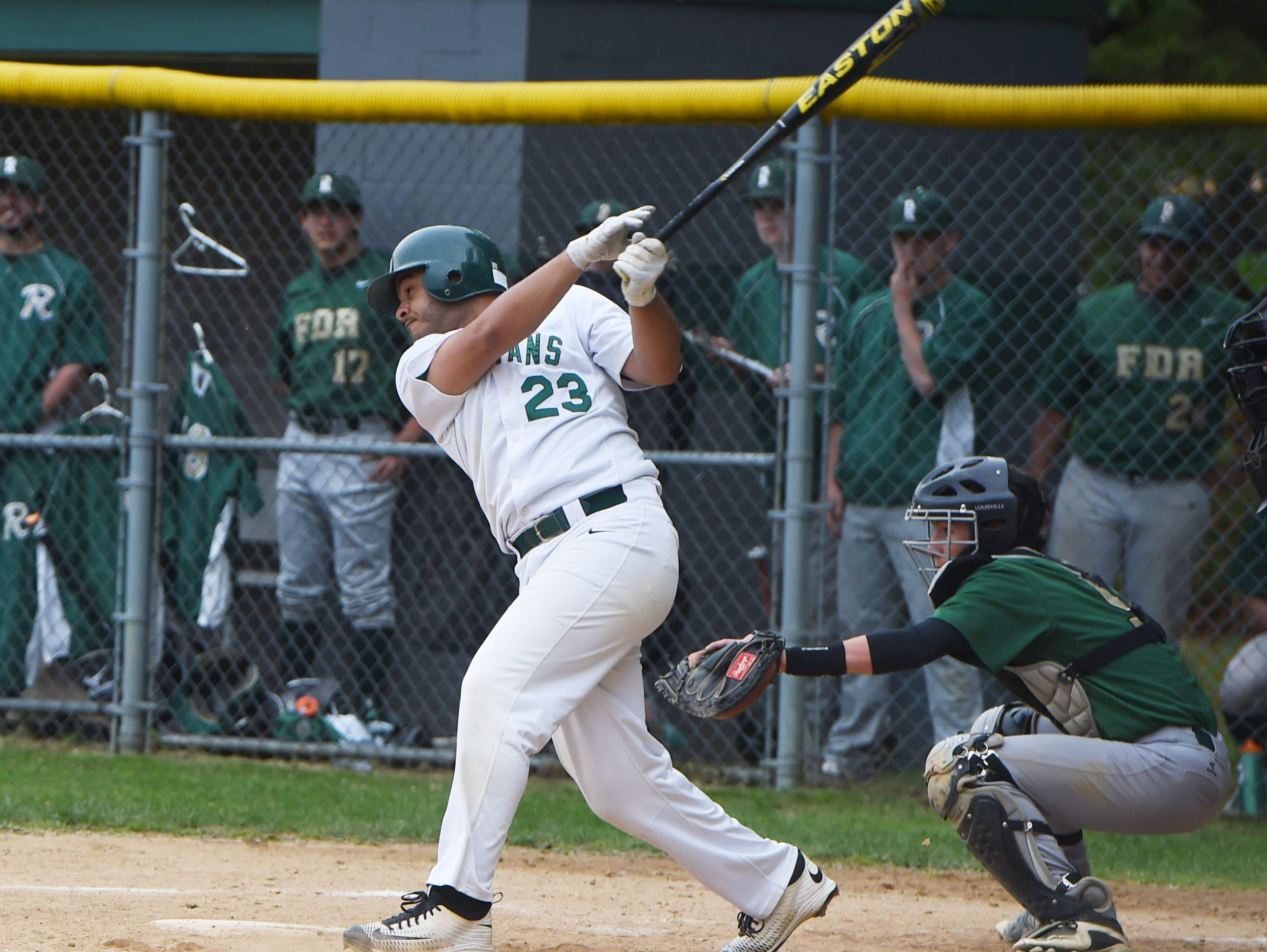 Spackenkill's Joe Oppedisano connects with the ball during Thursday's game against Roosevelt.