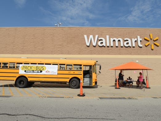 RIFA's Pack the Bus will help feed 720 Elementary school children on the weekends this year. They collected donations at Walmart North and South Saturday and will collect at RIFA throughout the year. Item needed include fruit cups in tin cans, granola bars and snack crackers among other things.