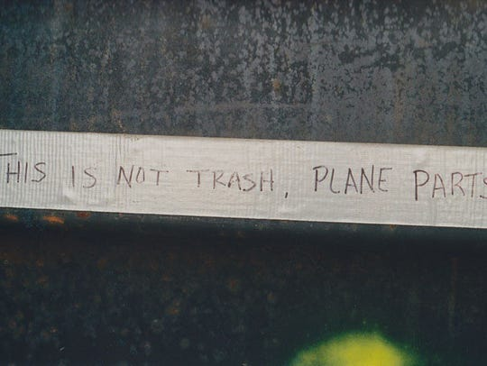 This label was on a dumpster at the crash site of Flight