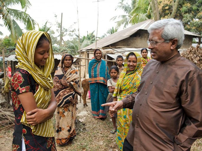 Fazle Hasan Abed, the chairperson of BRAC, visits a