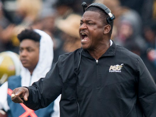 Alabama State interim head coach Donald Hill-Eley during the Magic City Classic at Legion Field in Birmingham, Ala. on Saturday October 27, 2017. (Mickey Welsh / Montgomery Advertiser)