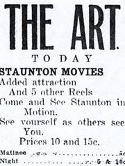 Advertisement from the Nov. 16, 1914, Staunton Daily